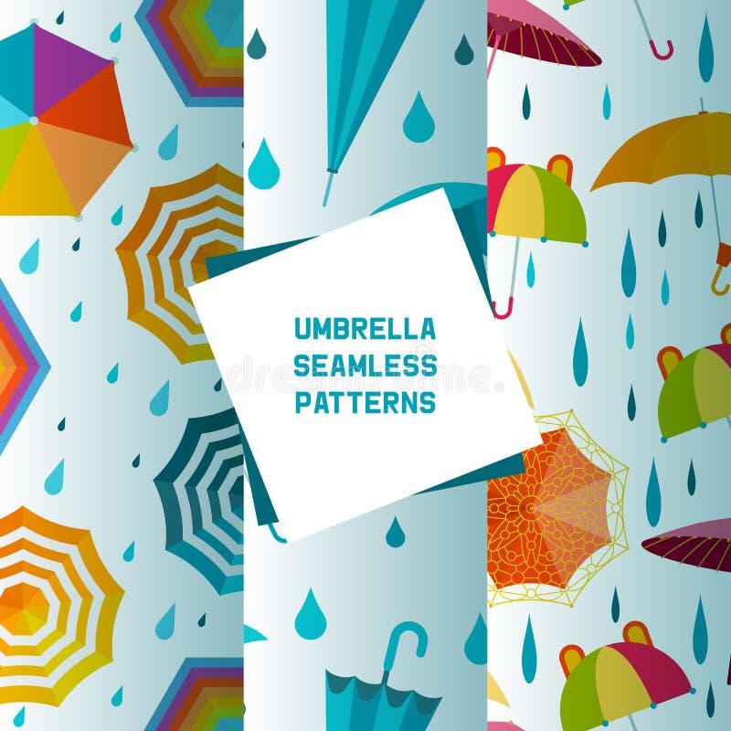 Paraplu open en gesloten reeks van naadloze patronen vectorillustratie vlak pictogram dat op blauw wordt ge?soleerd Kleurrijke re vector illustratie