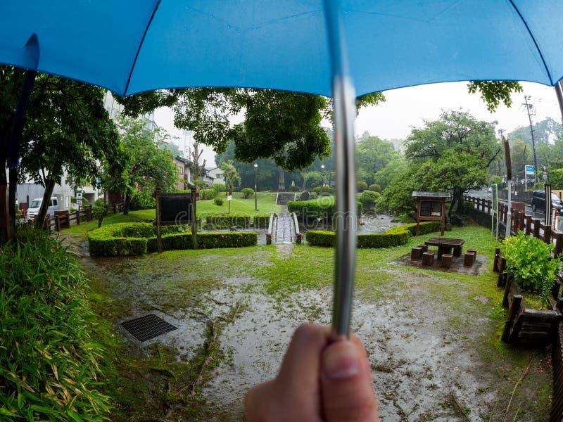 Paraplu in regenstandpunt stock foto's