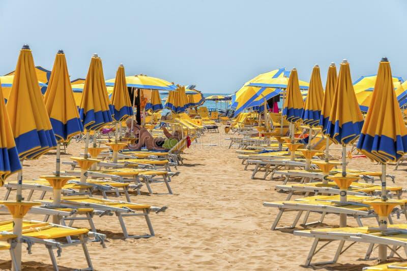 Paraplu's bij het strand royalty-vrije stock afbeelding