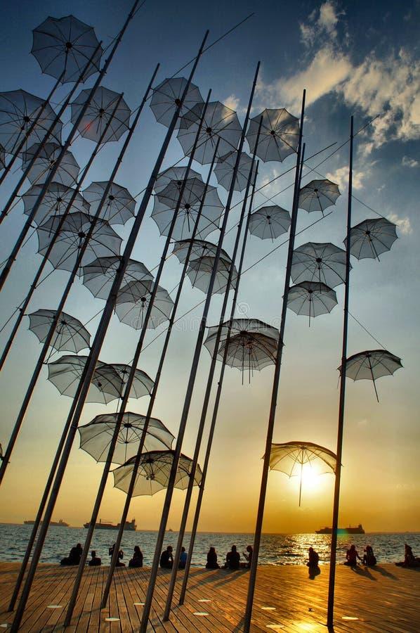 Paraplu's, Thessaloniki royalty-vrije stock afbeelding