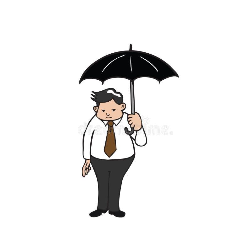 Paraplu van de zakenman de vette holding royalty-vrije illustratie