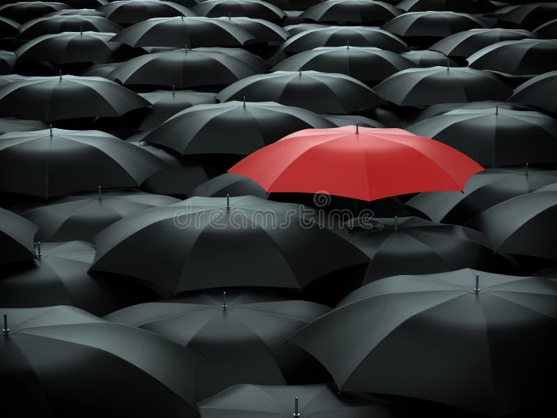 Parapluie au-dessus de beaucoup de parapluies noirs illustration de vecteur