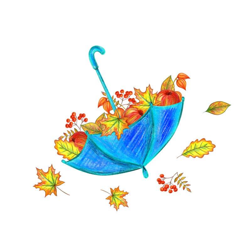 Parapluie avec des lames d'automne illustration de vecteur