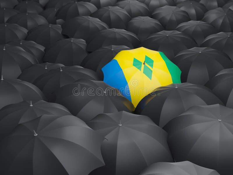 Parapluie avec le drapeau du Saint-Vincent-et-les Grenadines illustration libre de droits