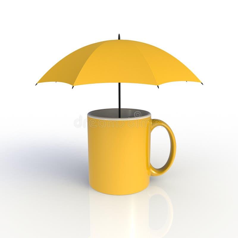Parapluie avec tasse de café jaune isolé sur fond blanc Modèle de validation pour la conception d'application Équipement d'exposi illustration de vecteur