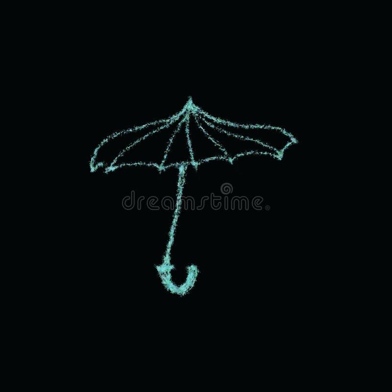 Parapluie bleu sur l'illustration noire de fond illustration libre de droits