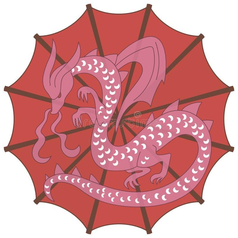 Parapluie chinois rouge lumineux rond avec les aiguilles de tricotage brunes et un dragon blanc rose avec des ailes illustration stock