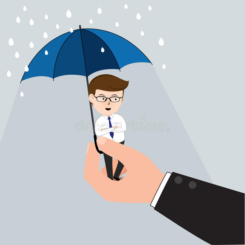 Parapluie de Hand Holding Tiny d'homme d'affaires illustration stock