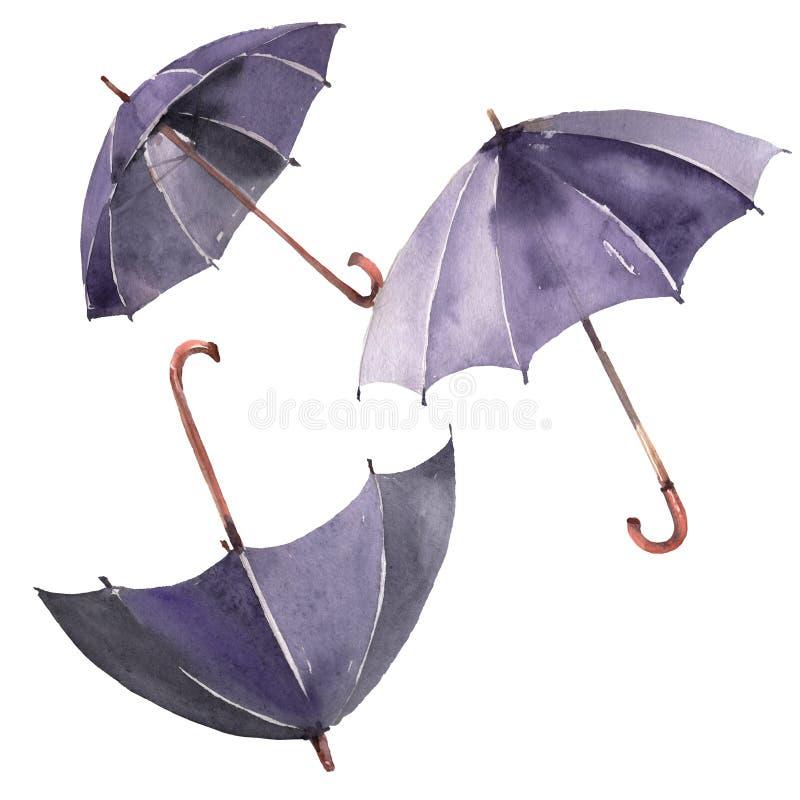 Parapluie de marche noir Ensemble d'illustration de fond d'aquarelle Élément d'isolement d'illustration de parapluies illustration stock
