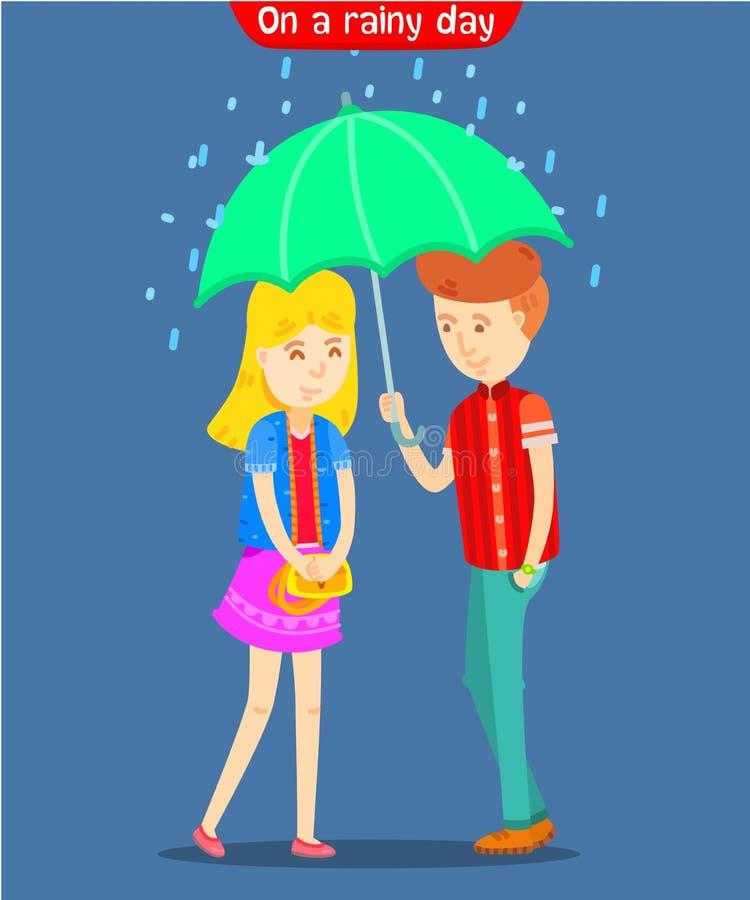 Parapluie de participation de type pour l'amie un jour pluvieux illustration stock