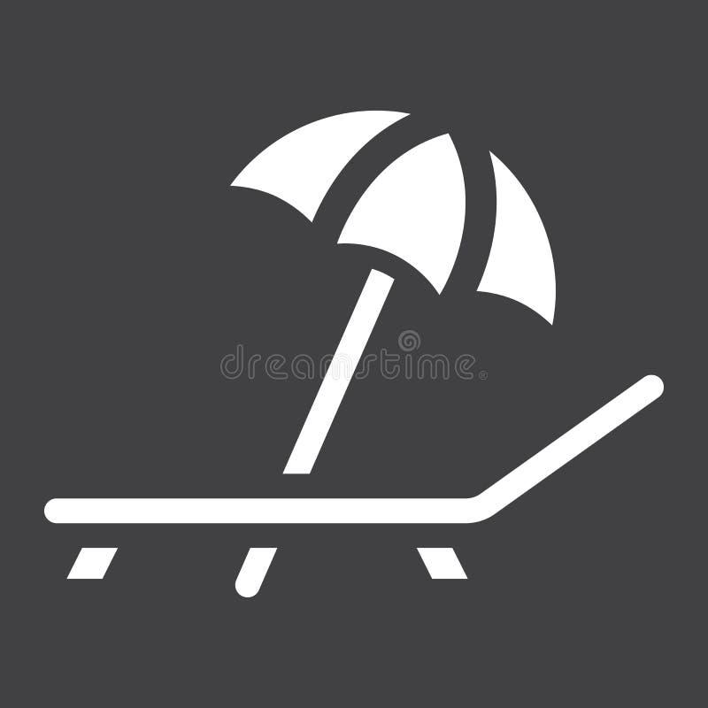 Parapluie de plage avec l'icône solide de chaise longue, voyage illustration libre de droits