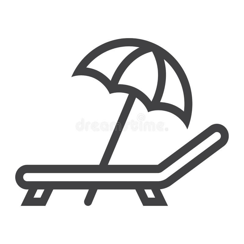 Parapluie de plage avec la ligne icône, voyage de chaise longue illustration libre de droits