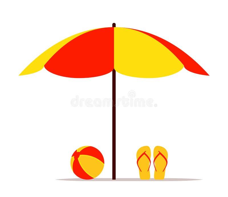 Parapluie de plage, bascules électroniques et boule illustration libre de droits
