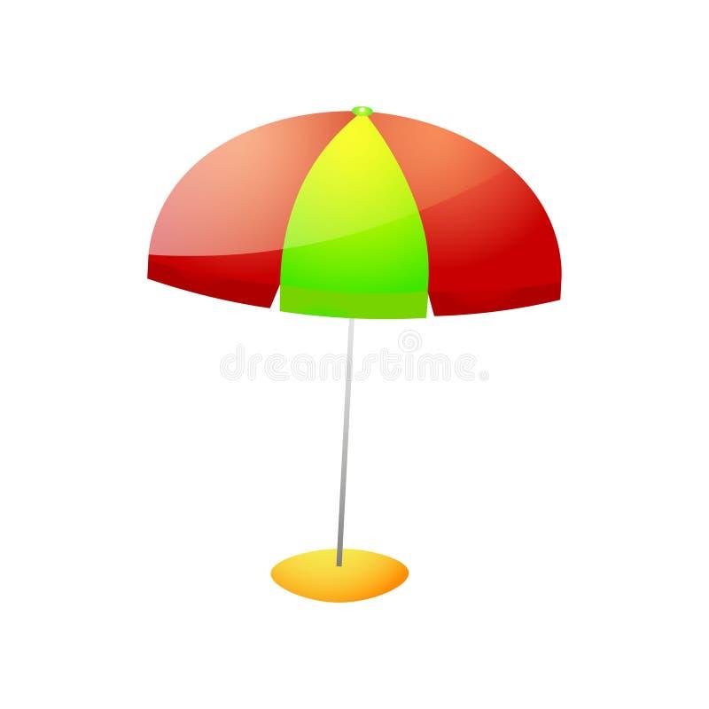Parapluie de plage rouge de couleur verte sur le support en pierre illustration libre de droits
