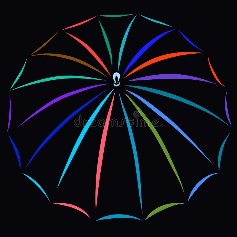 Parapluie des lignes colorées sur un fond noir illustration stock
