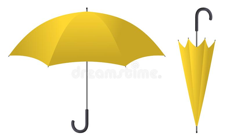 Parapluie 2 jaunes illustration de vecteur