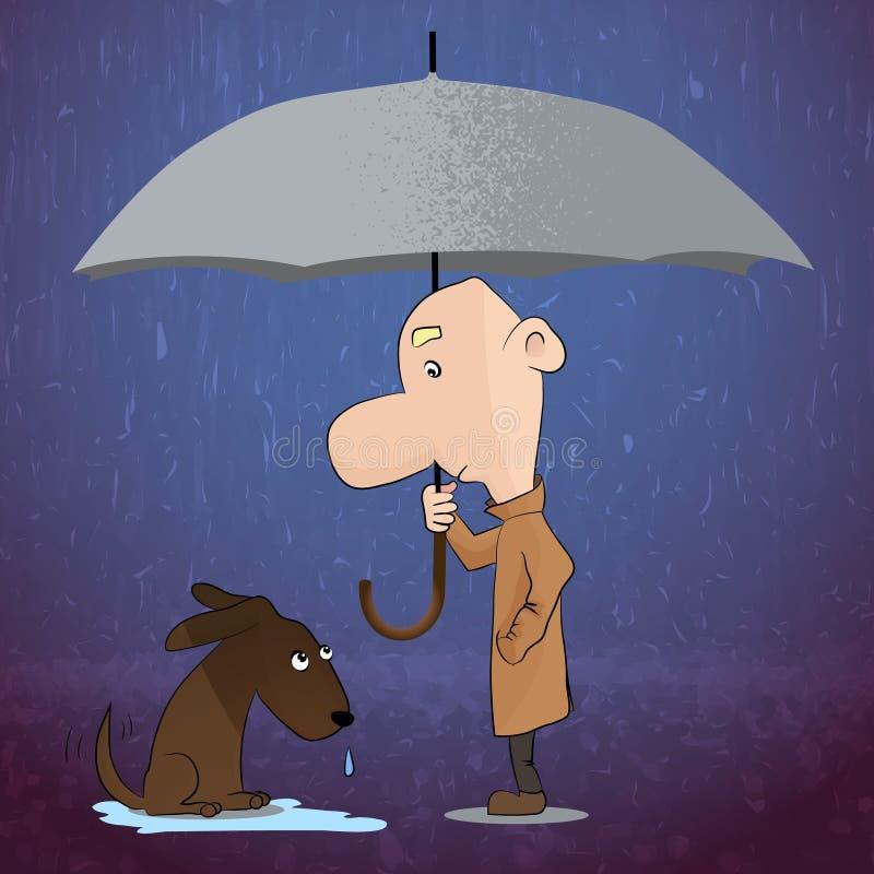 parapluie L'illustration de vecteur d'un homme avec le parapluie couvrant un chien de pluie illustration de vecteur