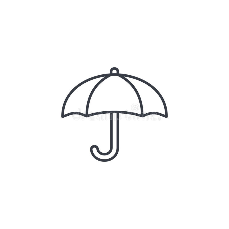 Parapluie, ligne mince icône de protection Symbole linéaire de vecteur illustration stock