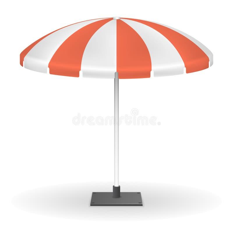 Parapluie rayé rouge du marché pour l'illustration extérieure de vecteur d'événement illustration de vecteur