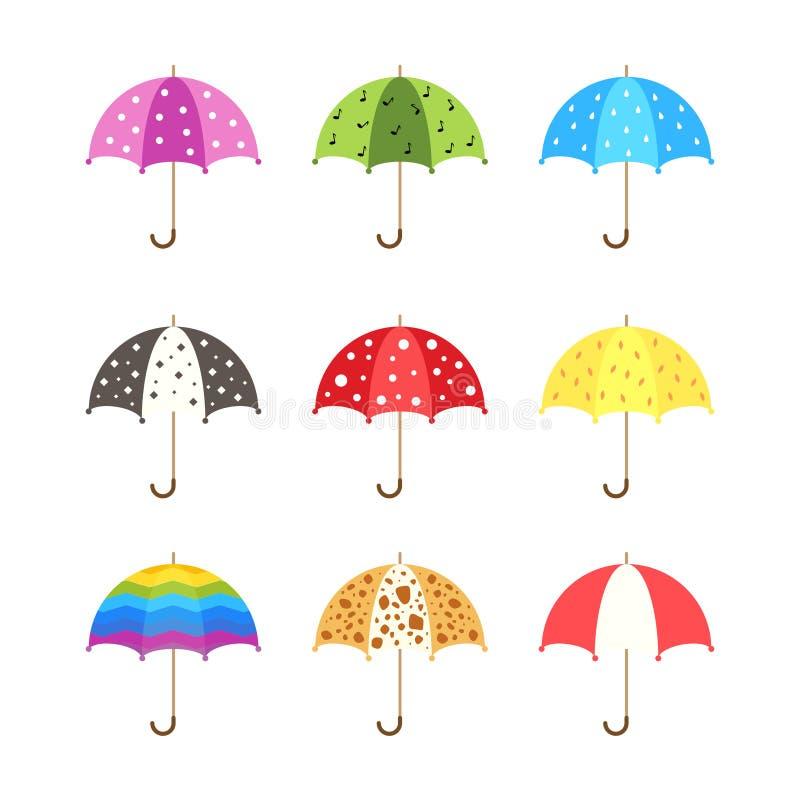 Parapluies colorés réglés dans le style plat illustration de vecteur