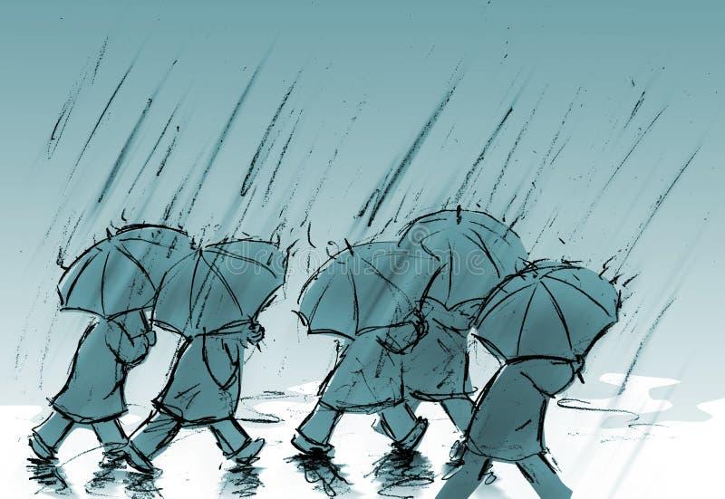 parapluies de gens illustration stock