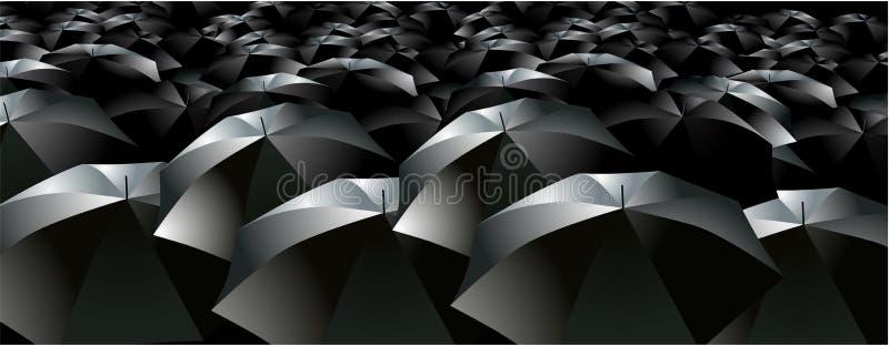 parapluies de pluie de foule de brollys illustration de vecteur