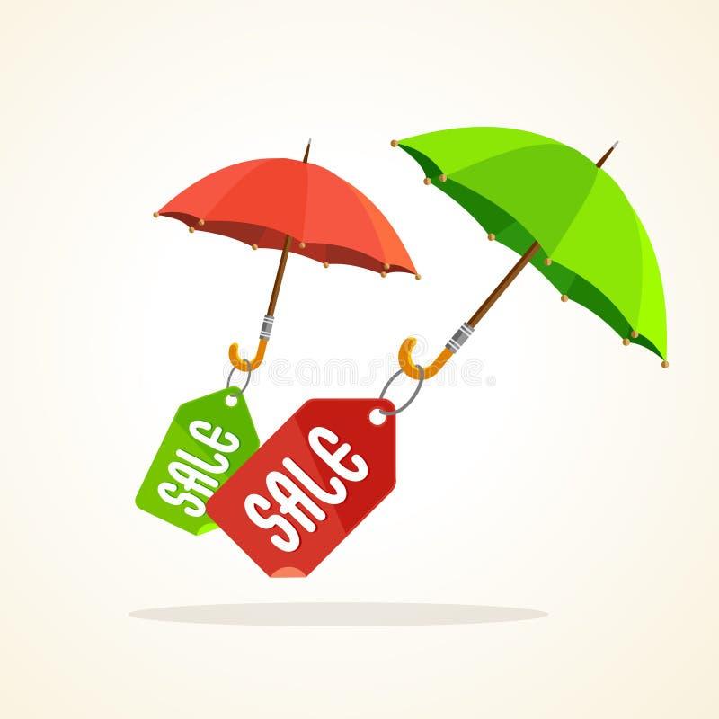 Parapluies de vecteur avec des autocollants de vente Conception plate illustration libre de droits