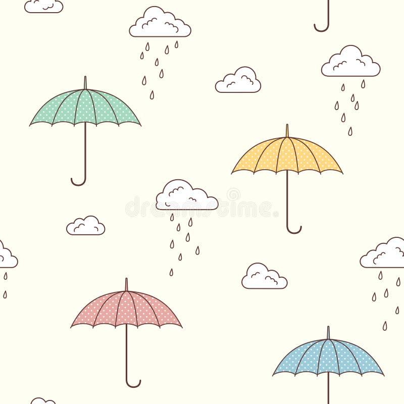 Parapluies et fond pluvieux de nuages illustration libre de droits