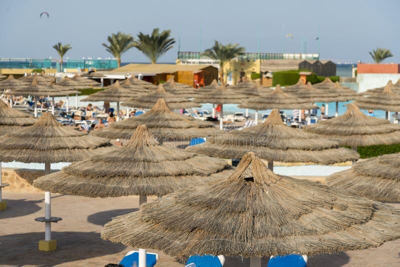 Parapluies et salons de cabriolet sur la plage Vue scénique de plage sablonneuse privée avec des lits du soleil de la mer image libre de droits