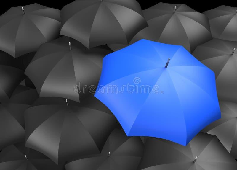 Parapluies noirs avec le parapluie bleu simple illustration stock