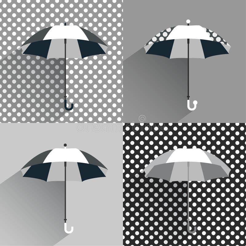 Parapluies noirs et blancs illustration de vecteur