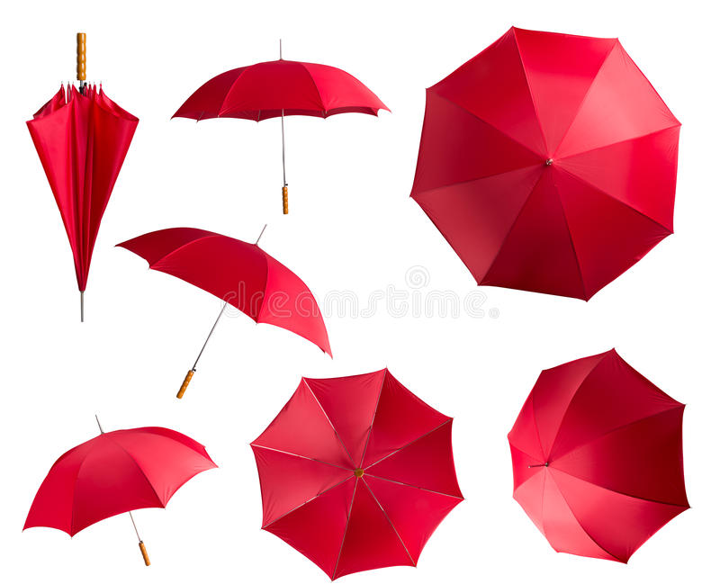 Parapluies rouges sur le blanc photographie stock libre de droits