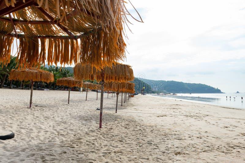Parapluies sur la plage dans le temps de jour photo libre de droits