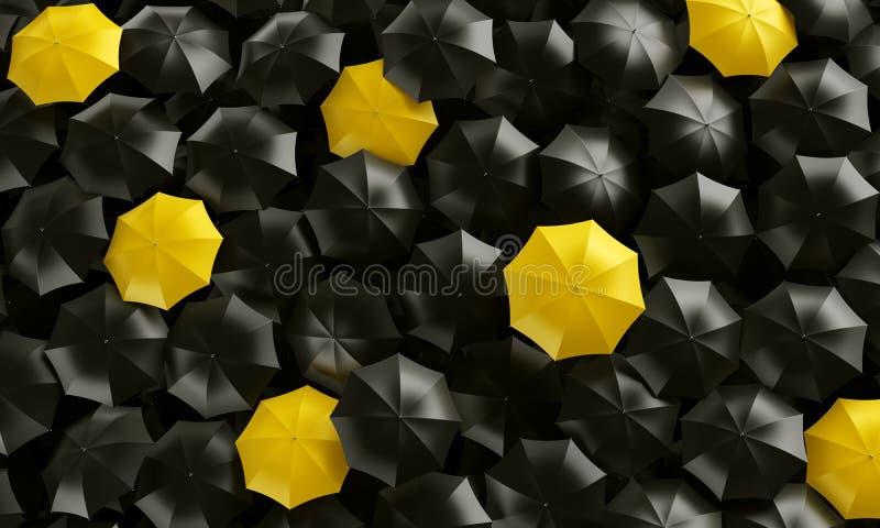 Parapluies vus à partir du dessus illustration de vecteur