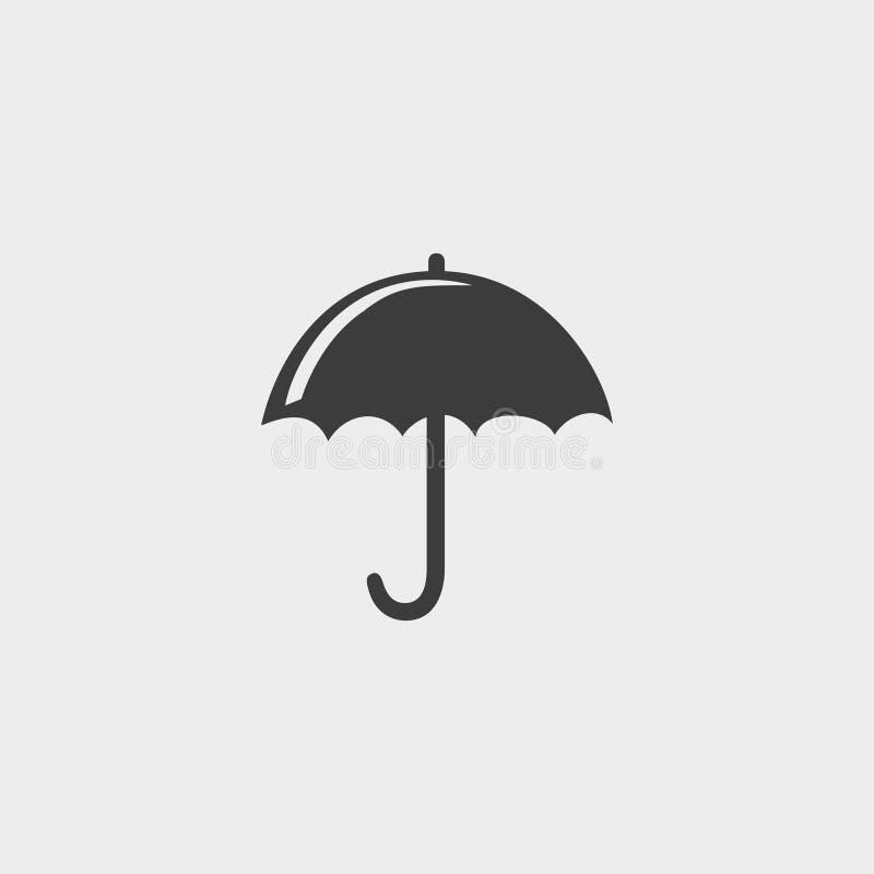 Paraplupictogram in een vlak ontwerp in zwarte kleur Vector illustratie EPS10 royalty-vrije illustratie