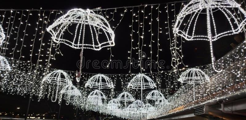 Parapluregen in Macao stock afbeelding