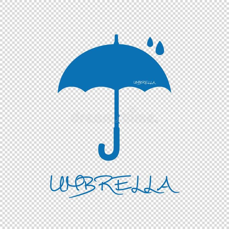 Paraplusilhouet met Regendruppels - Blauwe VectordieIllustratie - op Transparante Achtergrond wordt geïsoleerd royalty-vrije illustratie