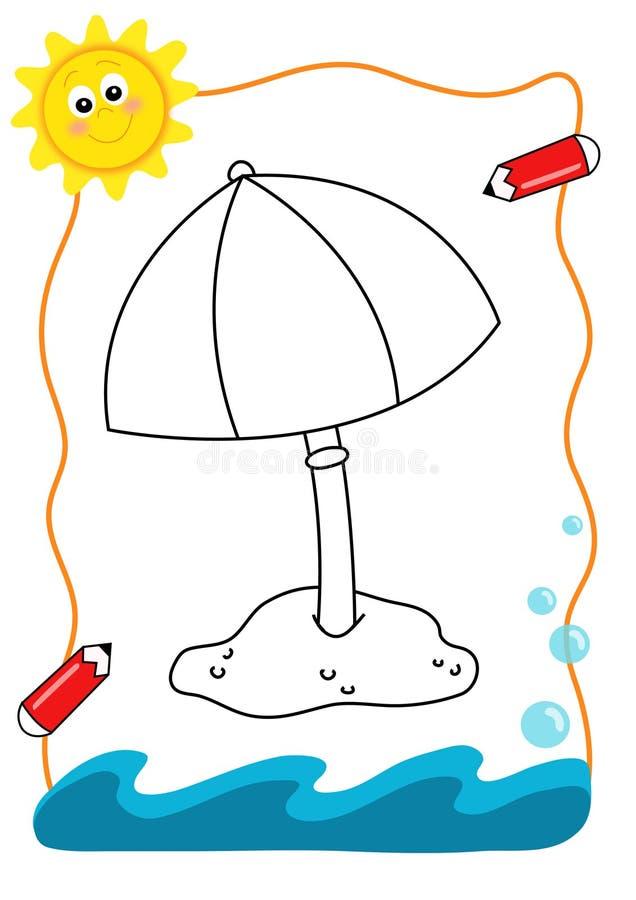 paraply för bokfärgläggninghav royaltyfri illustrationer
