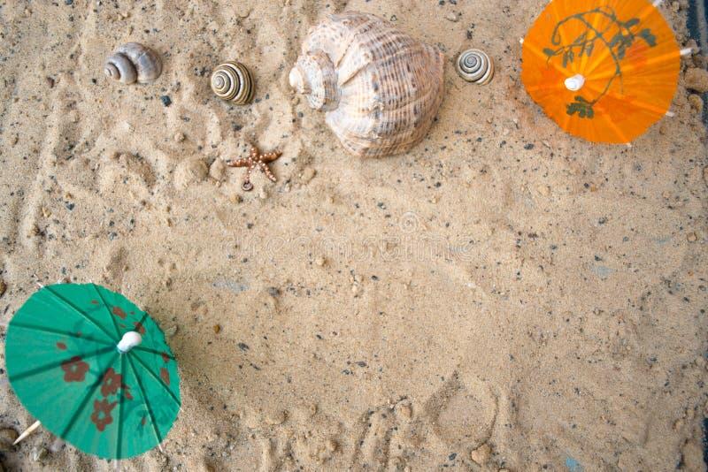 Paraply för coctailar på en sandig sommarbakgrund arkivbilder