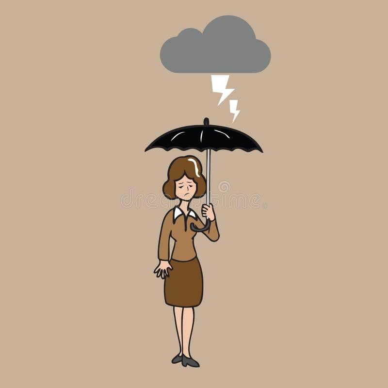 Paraply för kvinnainnehavsvart i strom royaltyfri illustrationer