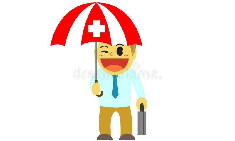 Paraply för Officeman tecknad filmsjukförsäkring royaltyfri illustrationer
