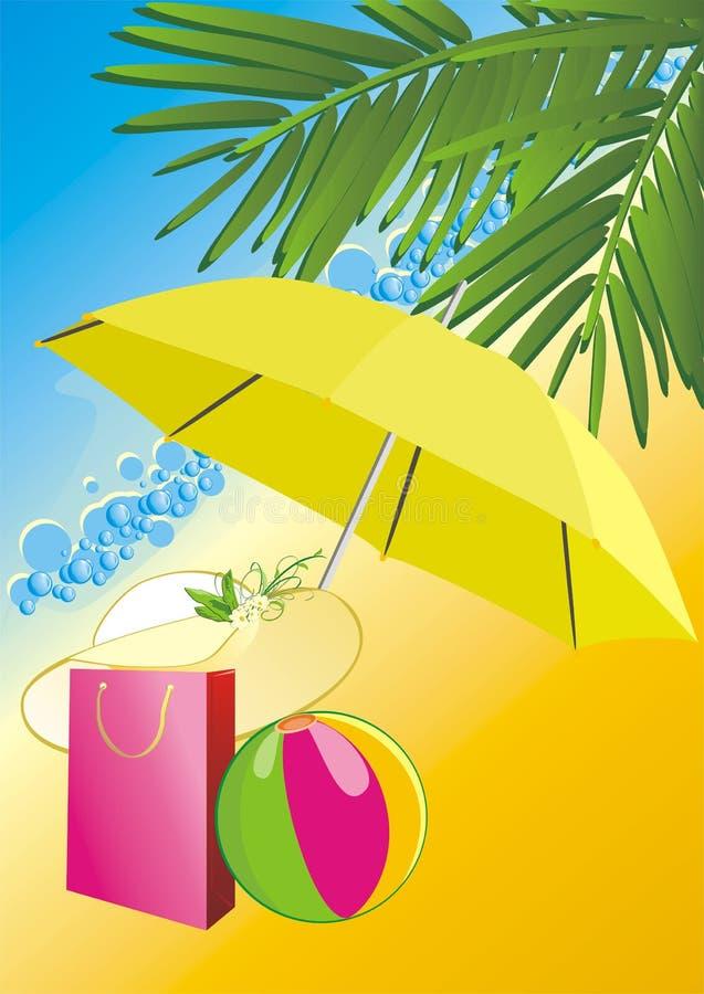 paraply för påsebollhatt under royaltyfri illustrationer