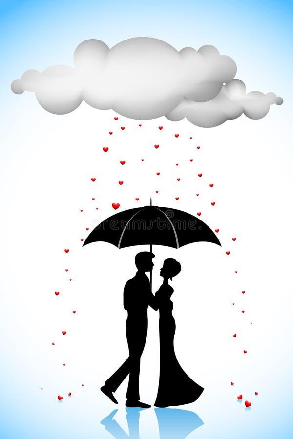 paraply för parförälskelseregn under royaltyfri illustrationer
