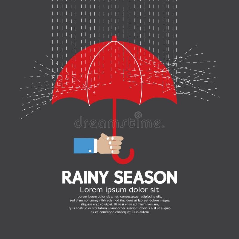 paraply för regnig sandig säsong för strand tropiskt stock illustrationer