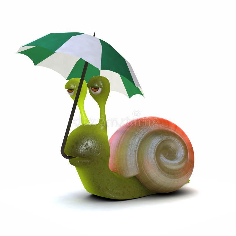 paraply för snigel 3d vektor illustrationer
