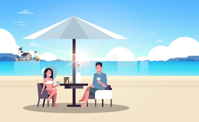 Paraply för vin för drink för kvinna för man för parsommarsemester på lägenhet för tropisk ö för hus för soluppgångstrandvilla ho royaltyfri illustrationer