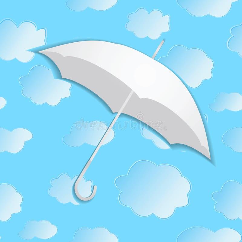 Paraply Från Papper Mot Bakgrunden Av Med Moln Vektor