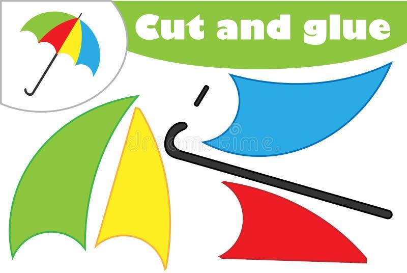 Paraply i tecknad filmstil, utbildningslek för utvecklingen av förskole- barn, brukssax och lim som skapar appliquen, stock illustrationer