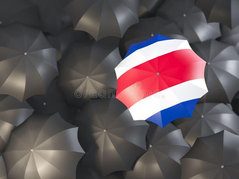 Paraply med flaggan av Costa Rica stock illustrationer
