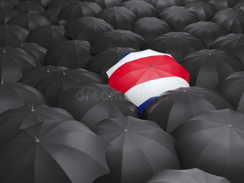 Paraply med flaggan av Costa Rica royaltyfri illustrationer